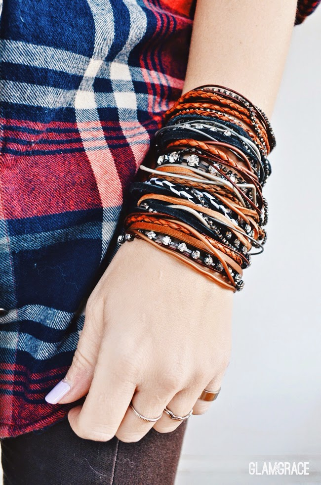 Leather & Rhinestone Strand Bracelet - boho & indie fashion