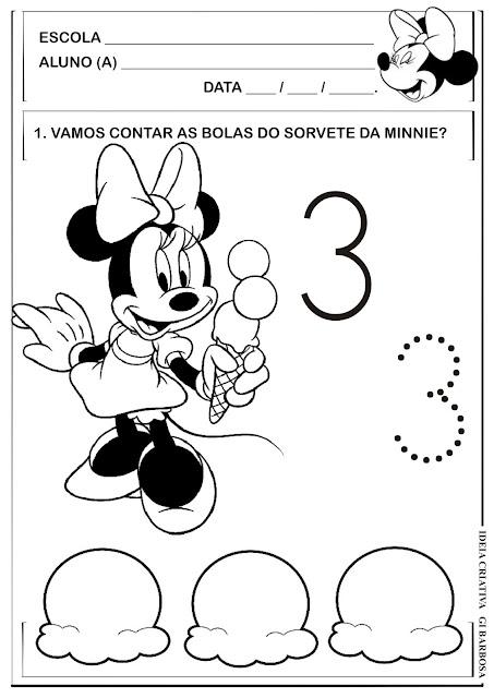 Atividade Numeral 3 Pontilhado