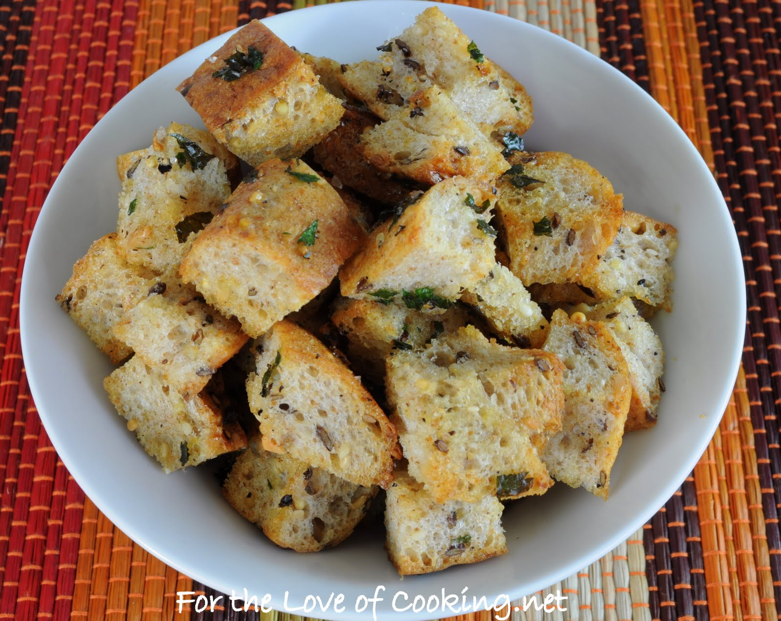 Homemade Garlic and Herb Croutons | For the Love of Cooking