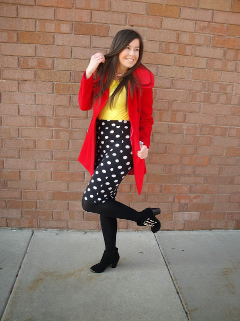 red coat, ILY COUTURE, ilycouture, polka dot skirt, forever 21 skirt, deb shop, booties, ankle booties, yellow sweater,