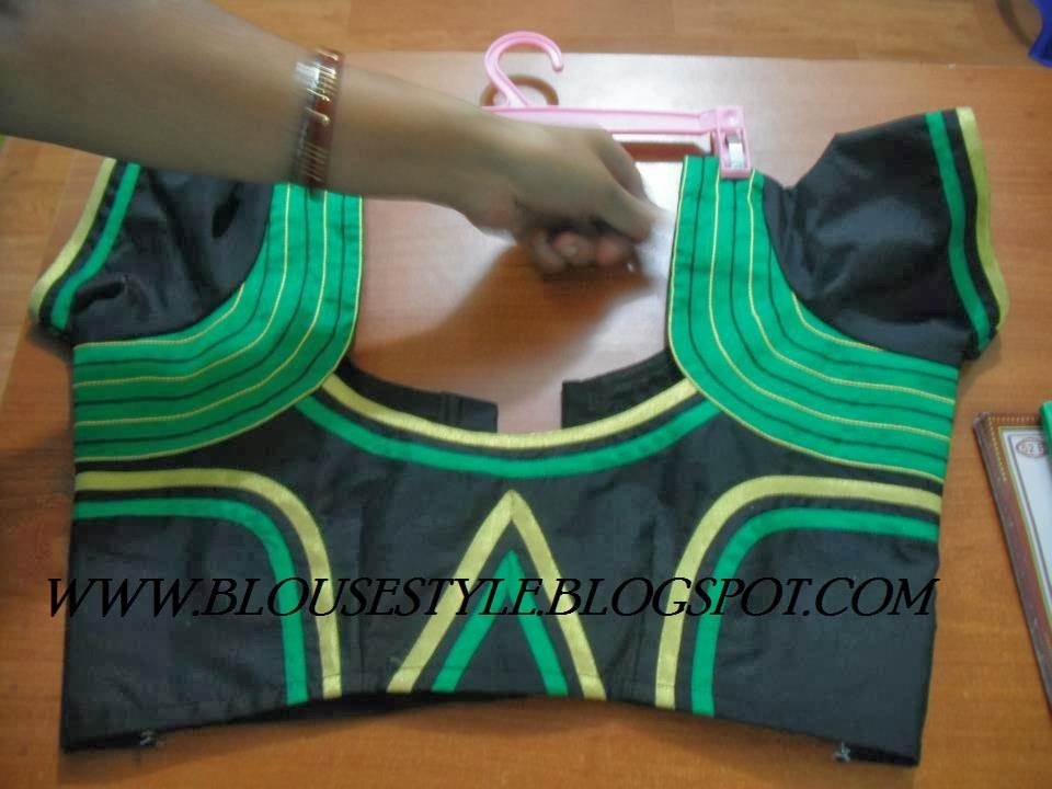 BLACK WITH GREEN BLOUSE