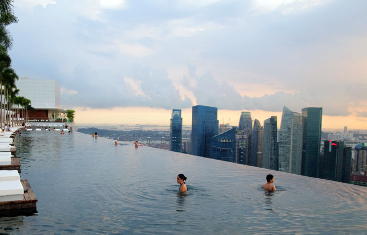 Infinity Pool At Marina Bay Sands Hotel In Singapore
