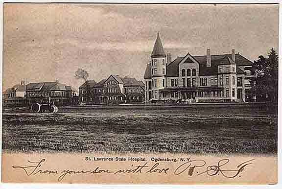 Climbing My Family Tree: Postcard of St. Lawrence State Hospital in Ogdensburg, NY