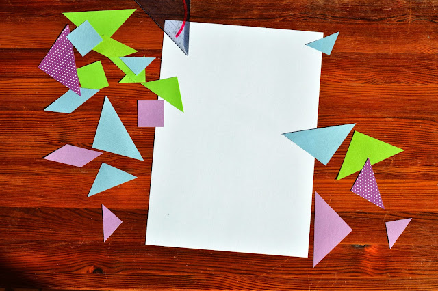 Turn tangram puzzle into colourful art - little box of tricks