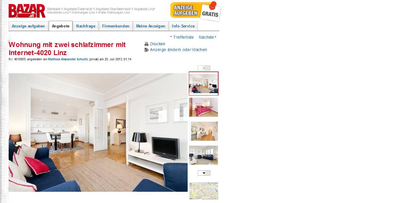 Http://www.bazar.at/wohnung Mit Zwei Schlafzimmer  Mit Internet 4020 Linz Anzeigen 4618935.html