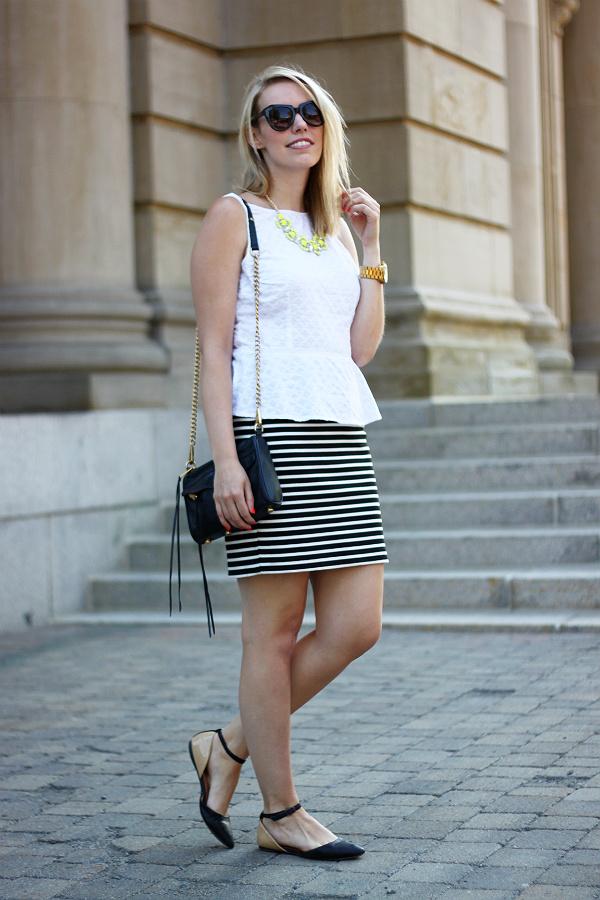 white peplum, striped mini skirt, black and white striped skirt, two tone flats, rebecca minkoff mini mac, canadian fashion blogger