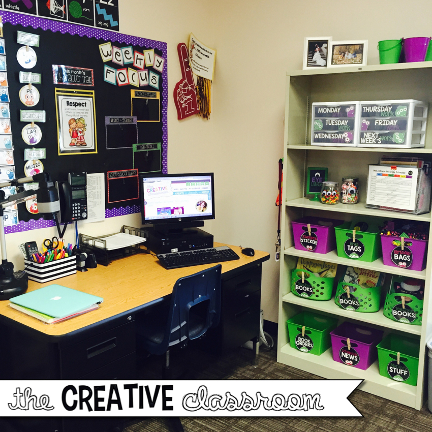 Monster theme classroom reveal 2015 2016 the creative - Classroom desk organization ideas ...