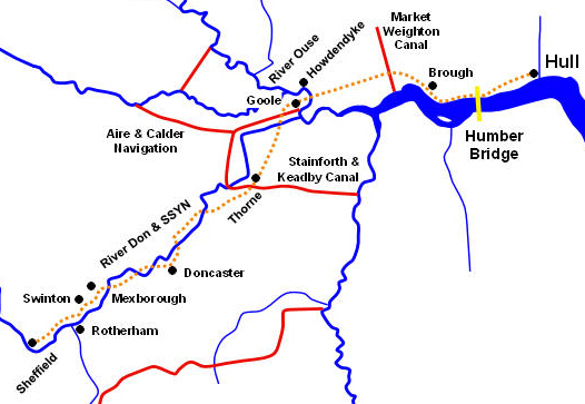 Waterways Of The Humber - River trent map
