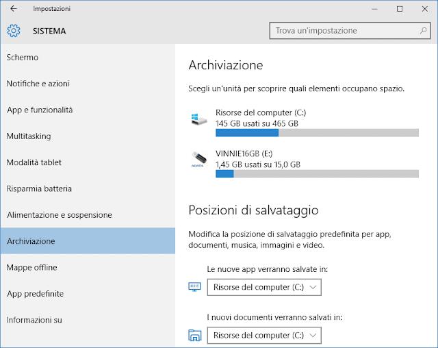 Windows 10 Update Posizioni di salvataggio