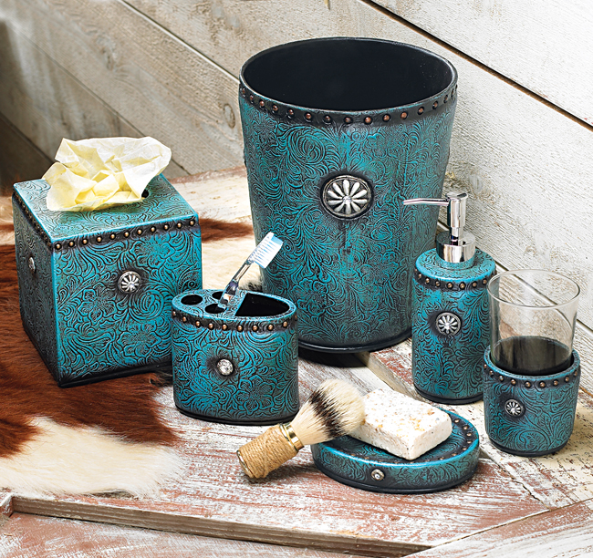 Teal blue bathroom accessories folat for Teal and brown bathroom decor