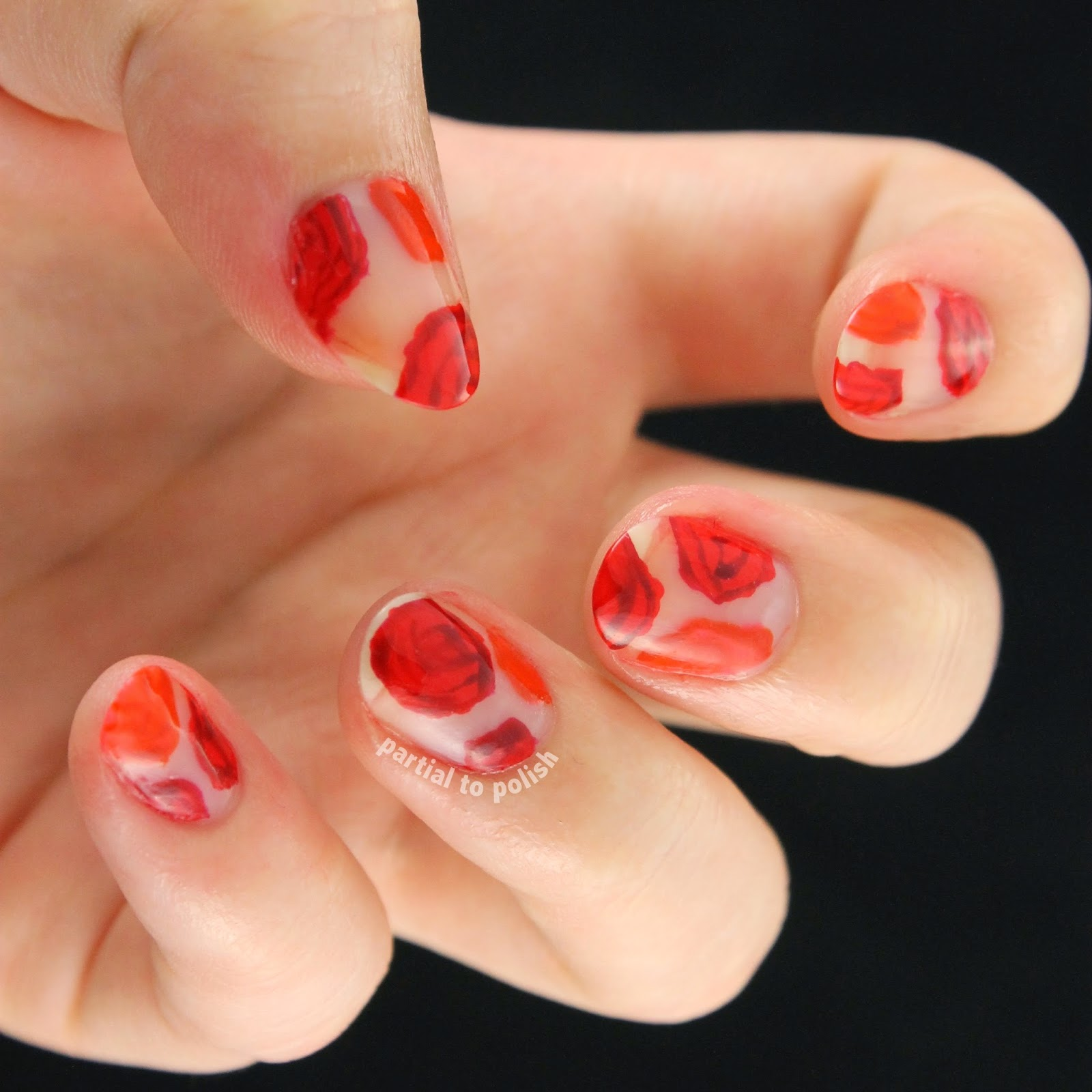 Orange and Red Negative Space Rose Nail Art Featuring Deborah Lippmann Nail Polish