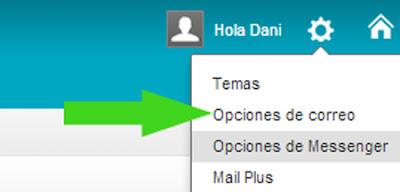 opciones de yahoo correo