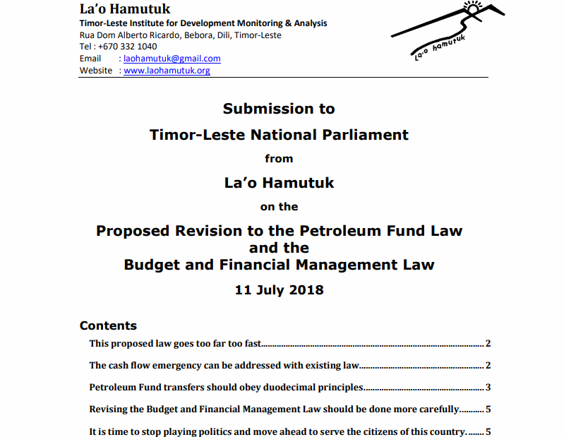 Proposed Revision to the Petroleum Fund Law