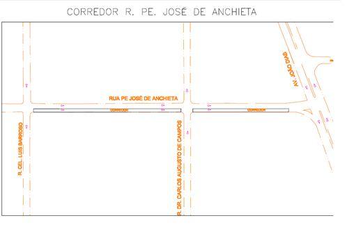Faixa exclusiva para ônibus Rua Padre José de Anchieta