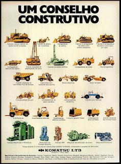 tratores, empilhadeiras Komatsu; reclame de carros anos 70. brazilian advertising cars in the 70. os anos 70. história da década de 70; Brazil in the 70s; propaganda carros anos 70; Oswaldo Hernandez;