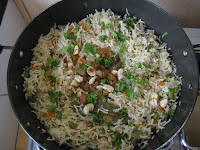 Garnished pulao ready to serve