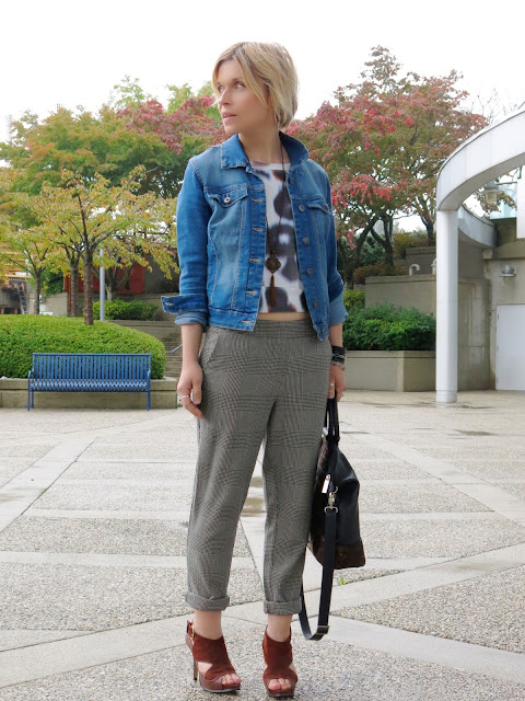 styling slouchy plaid pants with a cropped sweatshirt, denim jacket, and Nine West heels