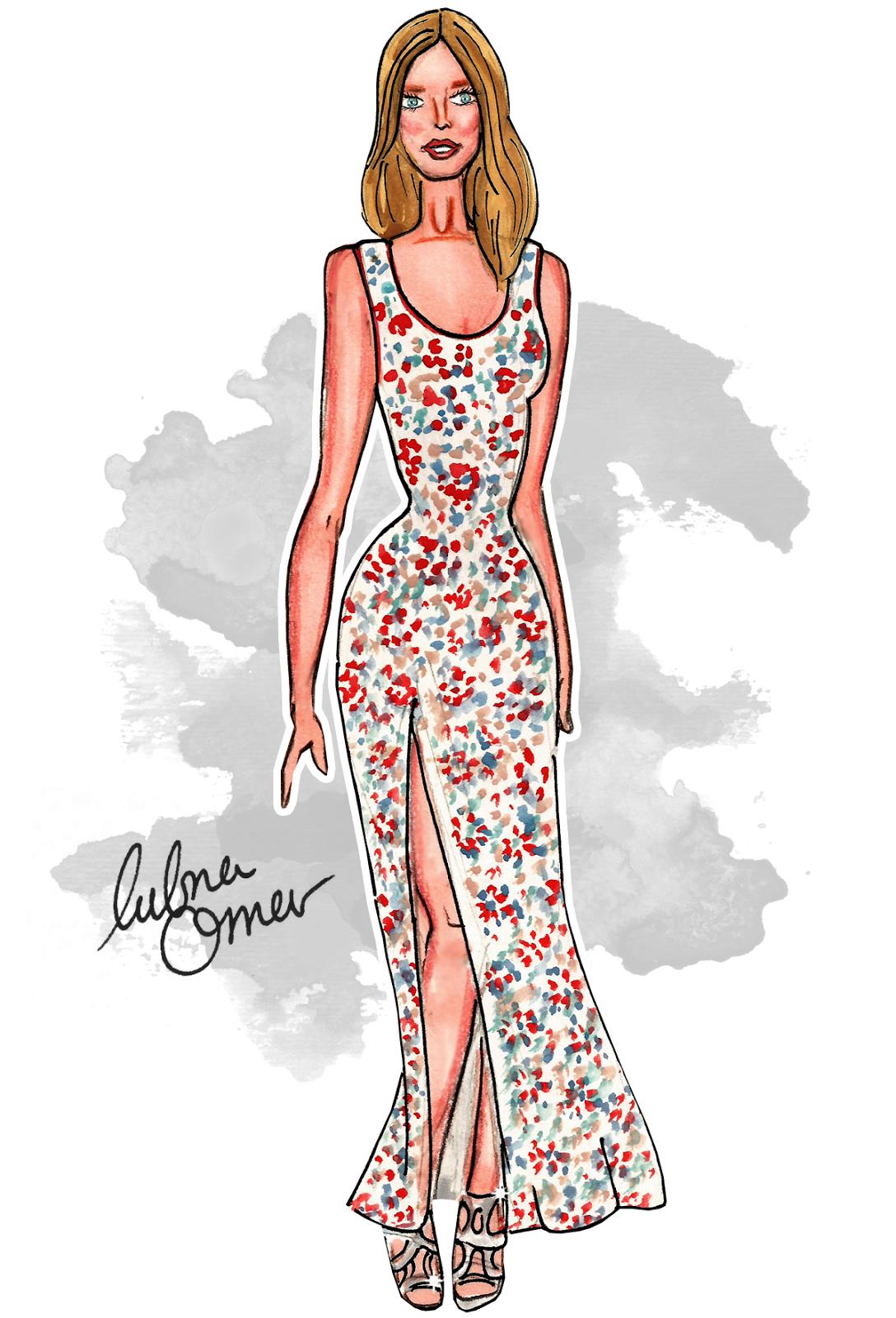 Constance Jablonski fashion illustration by Lubna Omar
