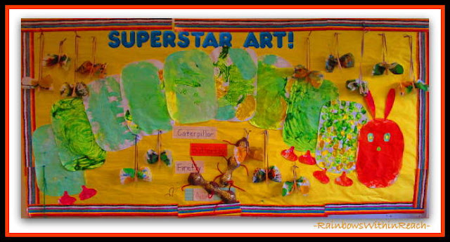 Bulletin Board of Eric Carle's Hungry Caterpillar as Process Art for Early Childhood via RainbowsWithinReach