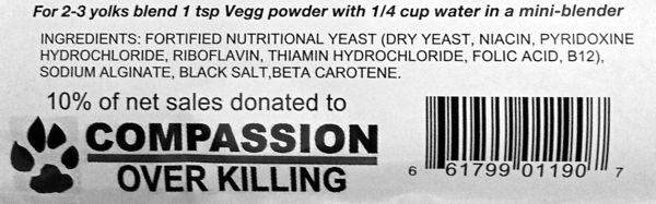 The Vegg vegan egg yolk ingredients