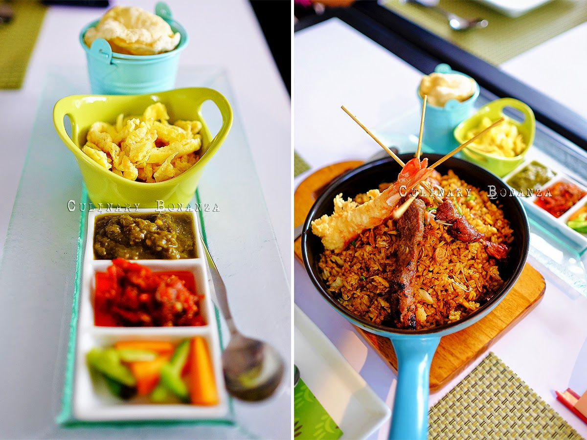Nasi Goreng Bengawan Solo - original, fried rice served with grilled (beef, chicken and lamb) satays, fried shrimps, egg omelette julienne, pickles and sambal