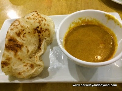 Indian Bread with curry potato sauce at Happy Buddha in Flushing, Queens, New York