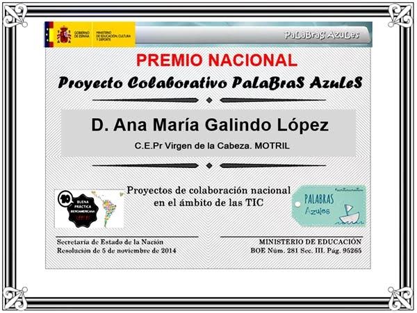 Premio Nacional. Proyecto Palabras Azules