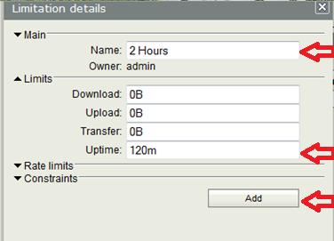user manager - limitation details