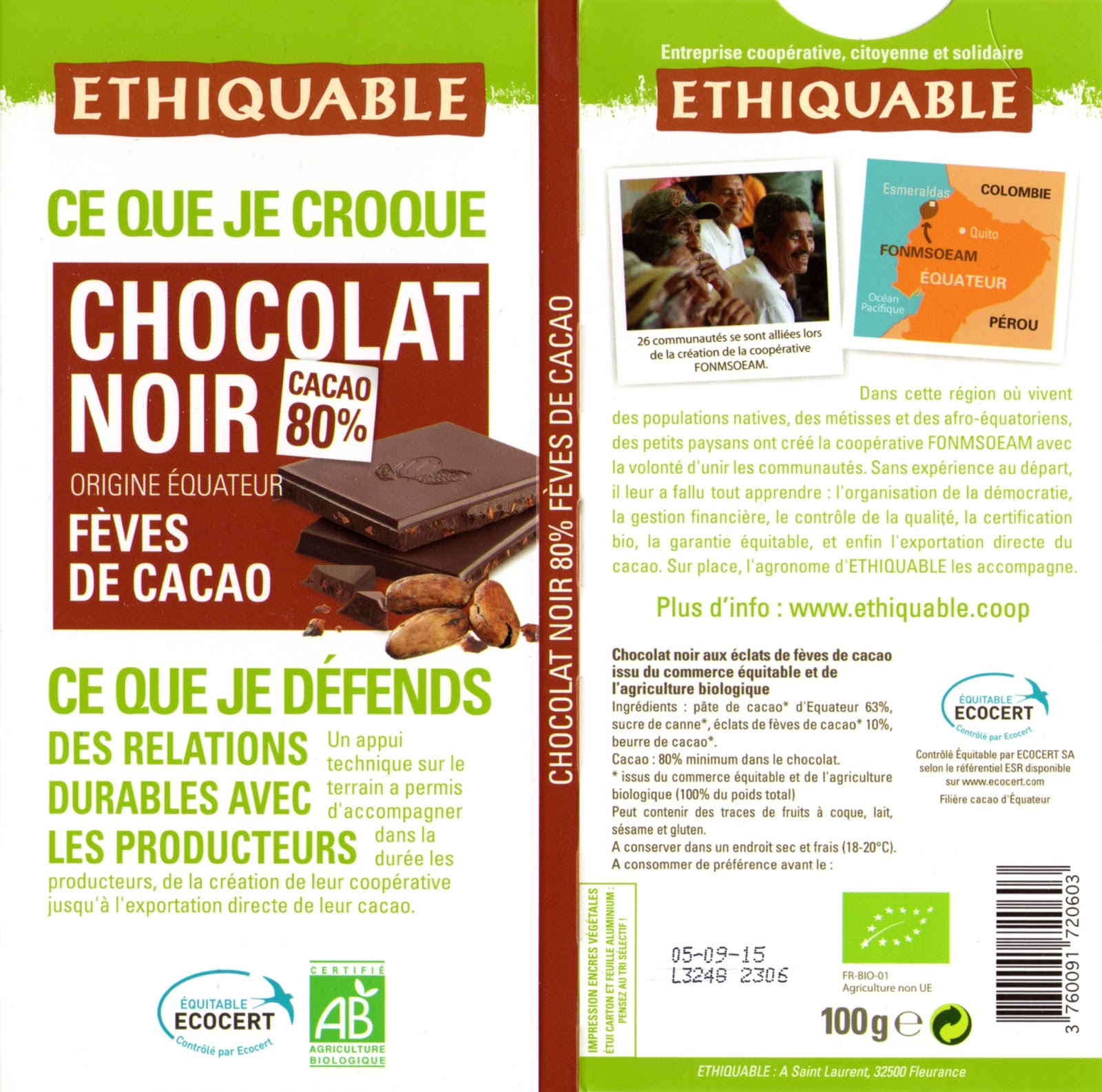 tablette de chocolat noir gourmand ethiquable equateur noir fèves de cacao 80