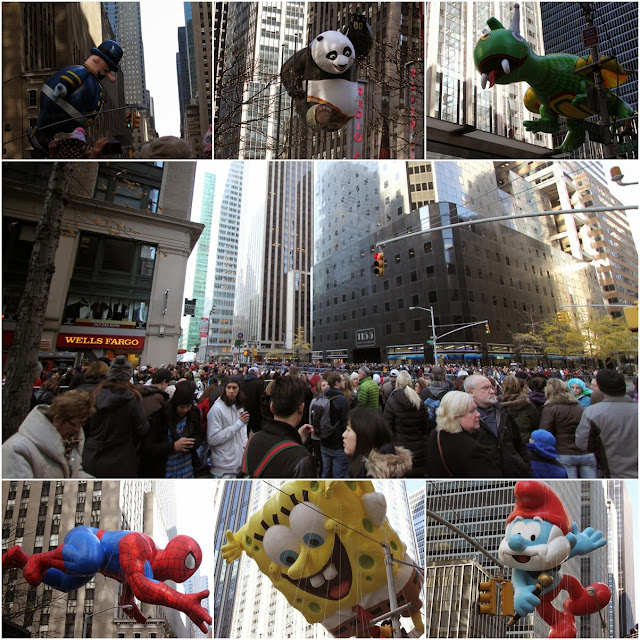 Yearly Macy's Thanksgiving Parade at New York Manhattan with crowded spectators, USA