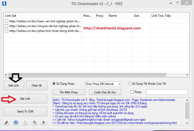 Tool Get Link TaiLieu.vn Miễn Phí