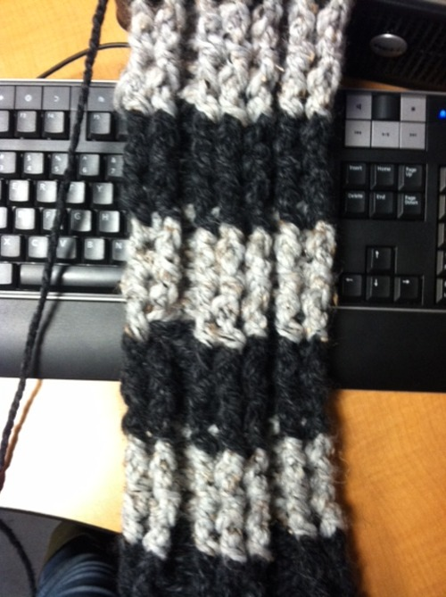 Cats And Crafts Crocheted Fluffy Striped Scarf