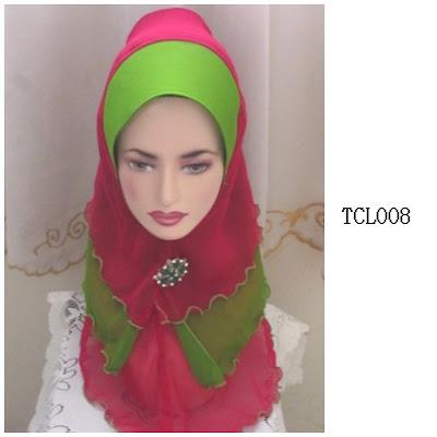 tudung chiffon 3 layer hijau merah