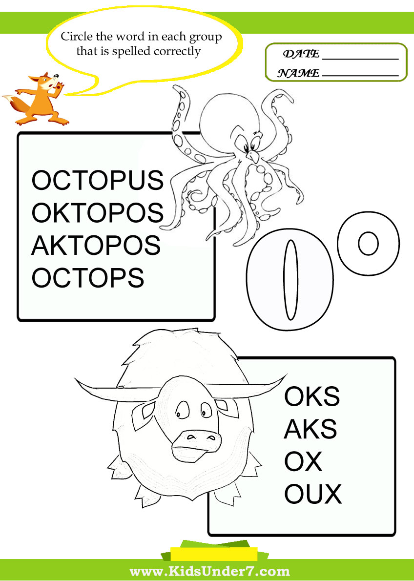 Correct spelling of letter O words.