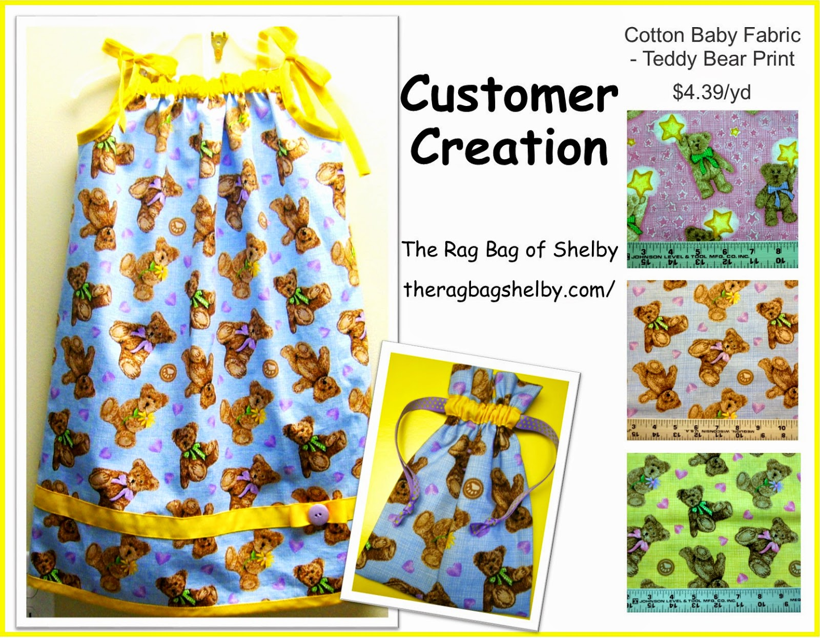 The Rag Bag of Shelby Teddy Bear Fabric