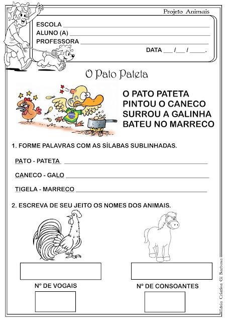 Atividade O Pato Pateta/ Leitura e Escrita
