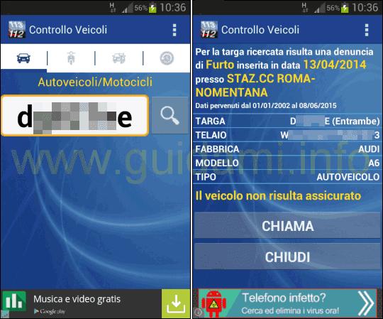 Controllo Veicoli Free app Android
