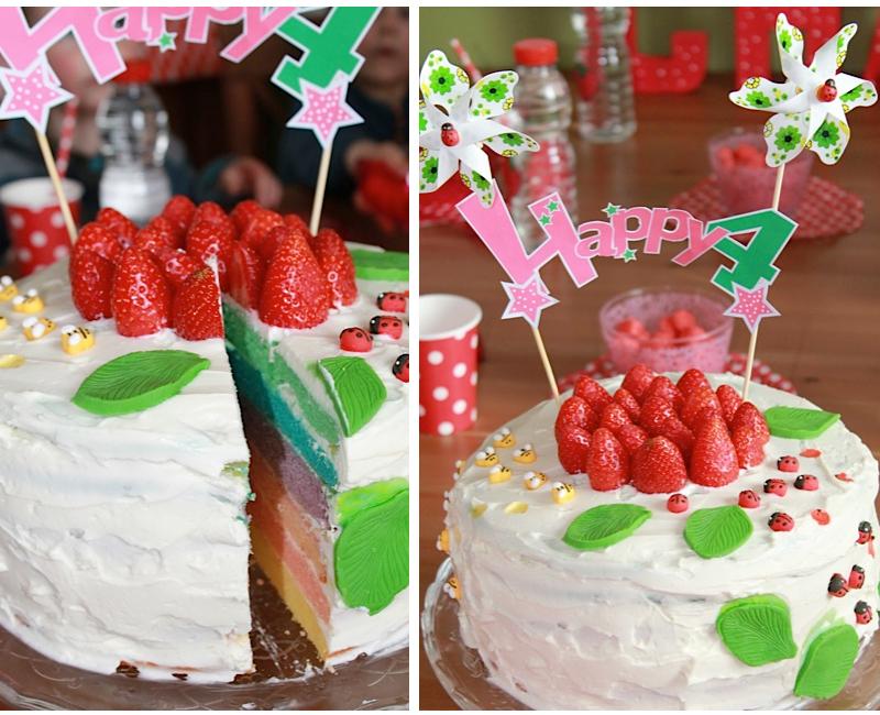 layer cake anniversaire couleur arc-en-ciel