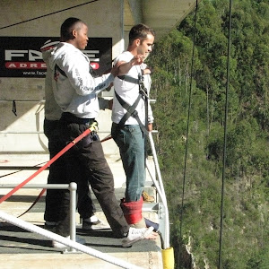 Preparing to bungee jump, Bloukrans Bridge, South Africa