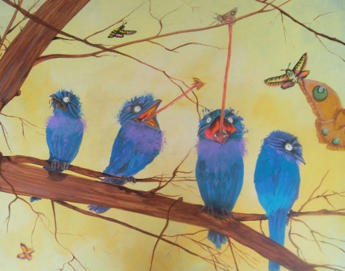 a painting of blue birds on a tree limb eating butterflies and other insects with long frog tongues