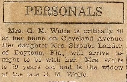 Sidney West Wolfe ill, 1930