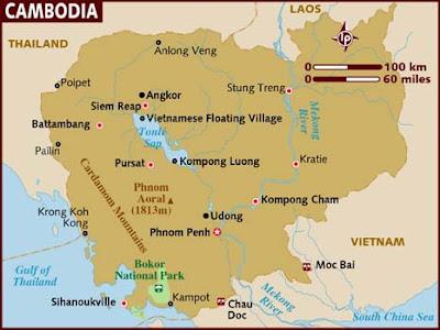 Kambodja Karta Regional Städer