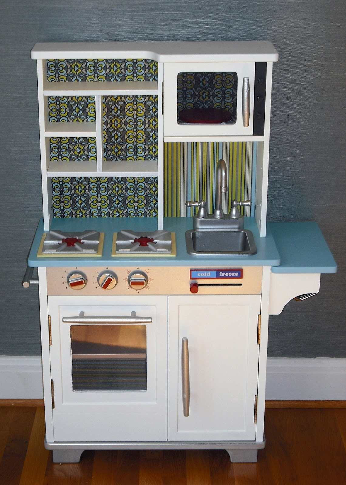Blue Wooden Play Kitchen aplaceimagined: play kitchen redo