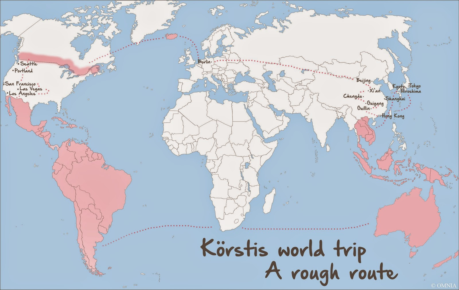 around the world trip route