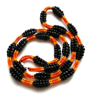 жгут-ндебеле украшения из бисера на заказ оранжевый яркий
