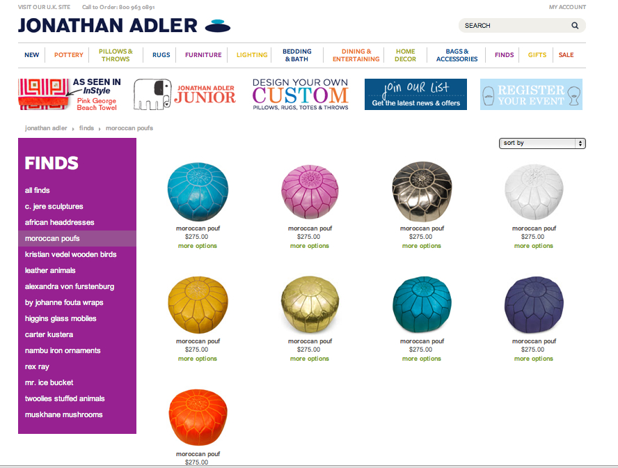 Visual jill interior design the power of the pouf for Designer flash sale sites