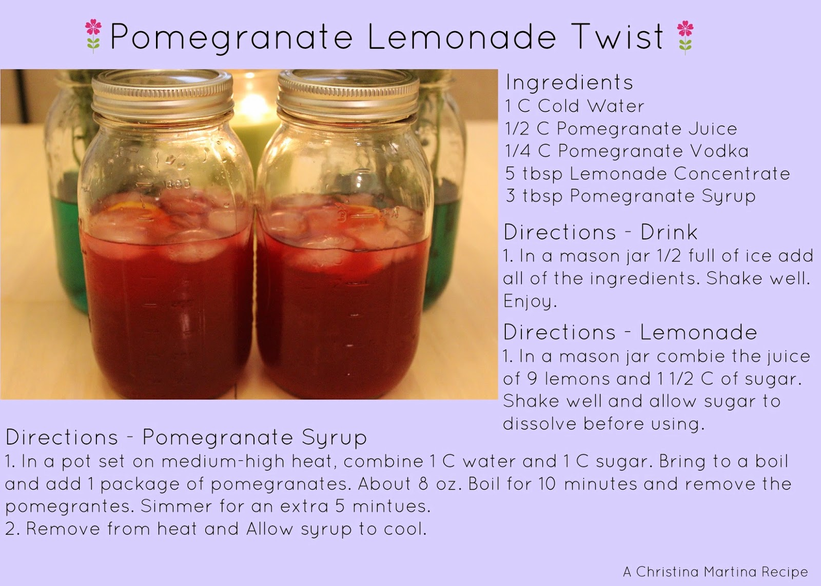 thirsty thursday, pomegranate lemonade recipe, lemonade recipe, recipe, alcoholic drink, drink recipe, mixers, summer drink, summer lemonade