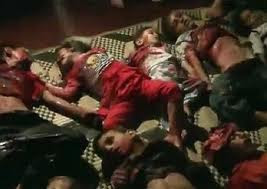 bodies of dead childen on the ground in Syria