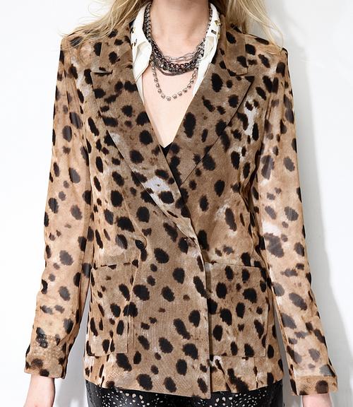 Leopard Mesh Blazer