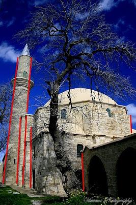 Zdjęcie przedstawiające Hala Sultan Tekke, Larnaka, Cypr, architektura, perspektywa, błąd perspektywy, kompozycja